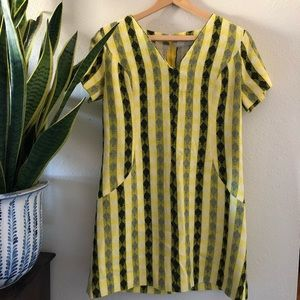 Vintage yellow striped shift dress poly wool mini